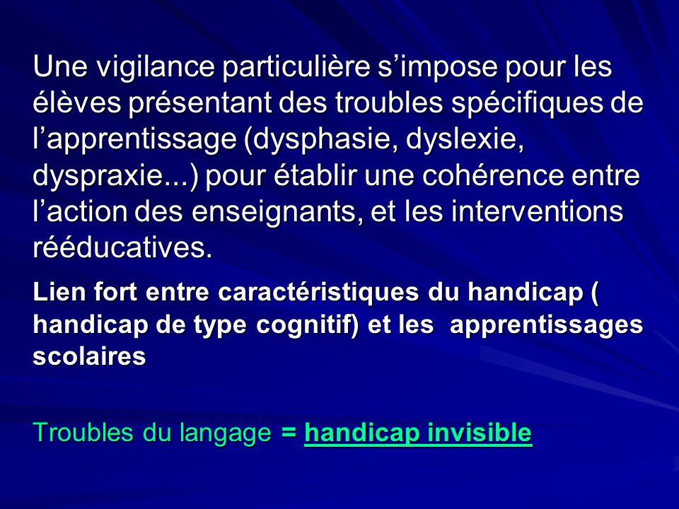 Une vigilance particulière s'impose pour les élèves présentant des troubles spécifiques de l'apprentissage (dysphasie, dyslexie, dyspraxie...) pour ét