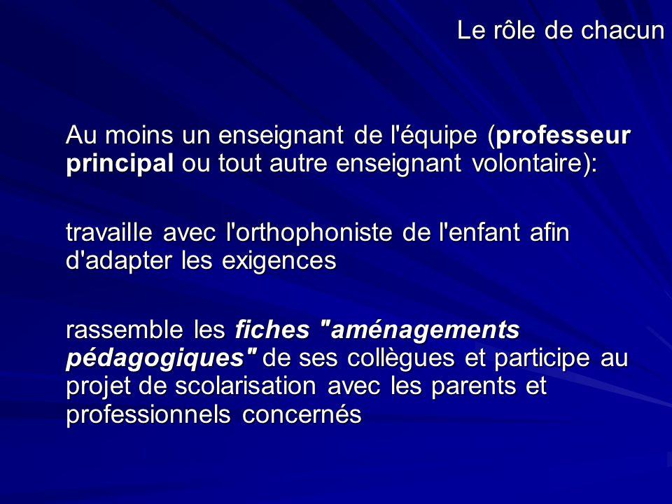 Le rôle de chacun Au moins un enseignant de l'équipe (professeur principal ou tout autre enseignant volontaire): travaille avec l'orthophoniste de l'e