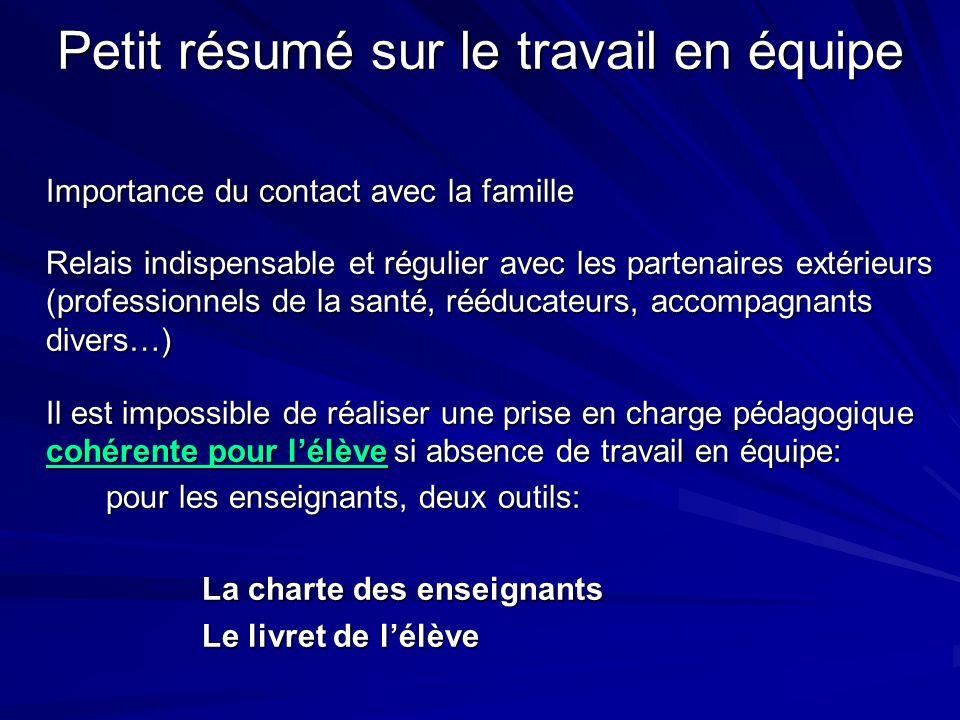 Petit résumé sur le travail en équipe Importance du contact avec la famille Relais indispensable et régulier avec les partenaires extérieurs (professi
