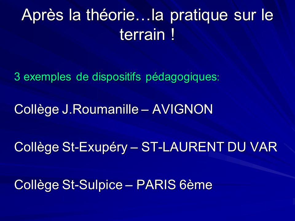 Après la théorie…la pratique sur le terrain ! 3 exemples de dispositifs pédagogiques : Collège J.Roumanille – AVIGNON Collège St-Exupéry – ST-LAURENT