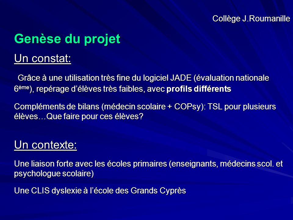 Collège J.Roumanille Genèse du projet Un constat: Grâce à une utilisation très fine du logiciel JADE (évaluation nationale 6 ème ), repérage d'élèves