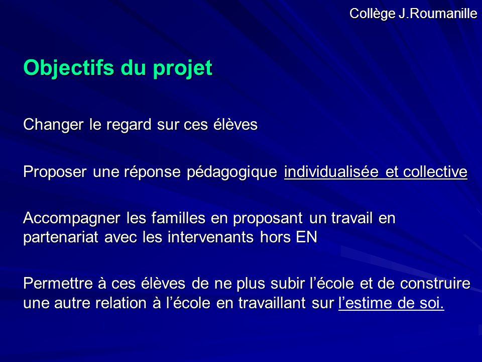 Objectifs du projet Changer le regard sur ces élèves Proposer une réponse pédagogique individualisée et collective Accompagner les familles en proposa