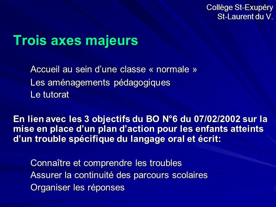 Trois axes majeurs Accueil au sein d'une classe « normale » Les aménagements pédagogiques Le tutorat En lien avec les 3 objectifs du BO N°6 du 07/02/2