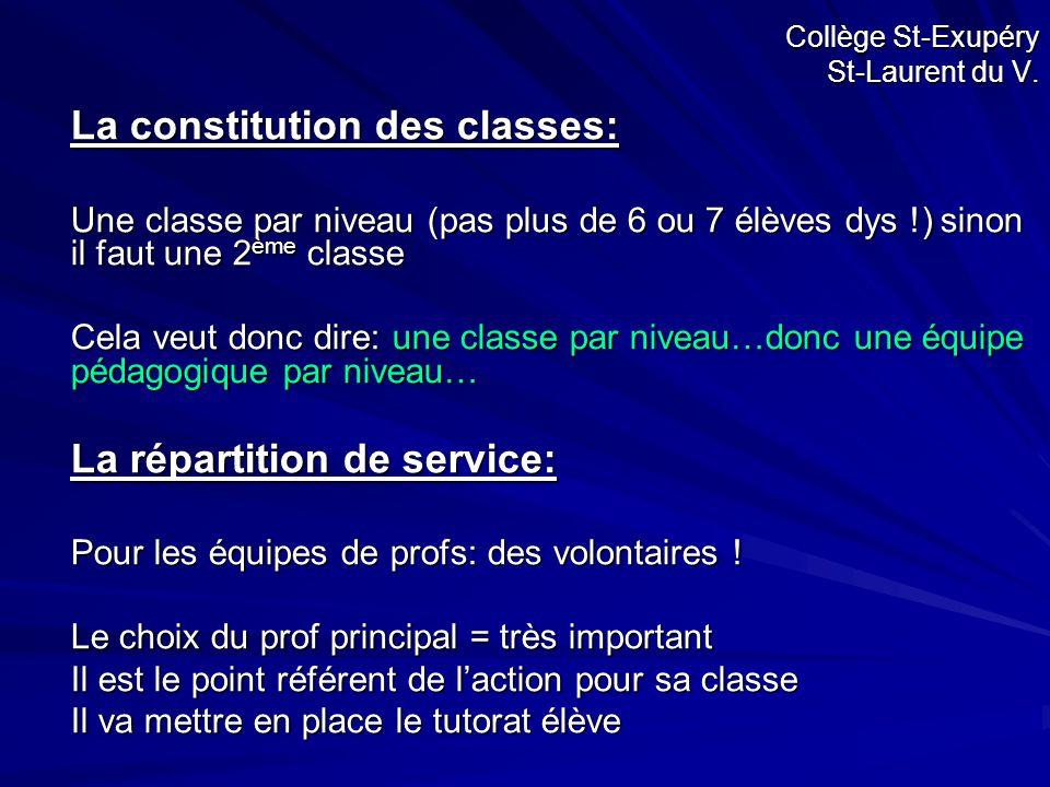 Collège St-Exupéry St-Laurent du V. La constitution des classes: Une classe par niveau (pas plus de 6 ou 7 élèves dys !) sinon il faut une 2 ème class