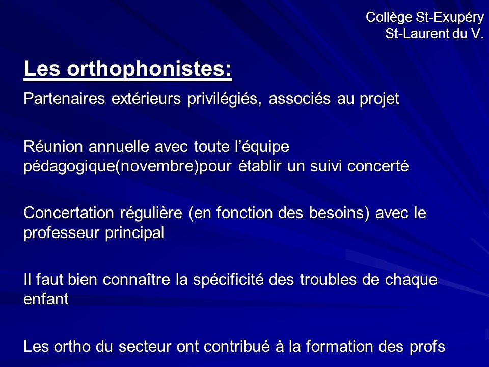Collège St-Exupéry St-Laurent du V. Les orthophonistes: Partenaires extérieurs privilégiés, associés au projet Réunion annuelle avec toute l'équipe pé