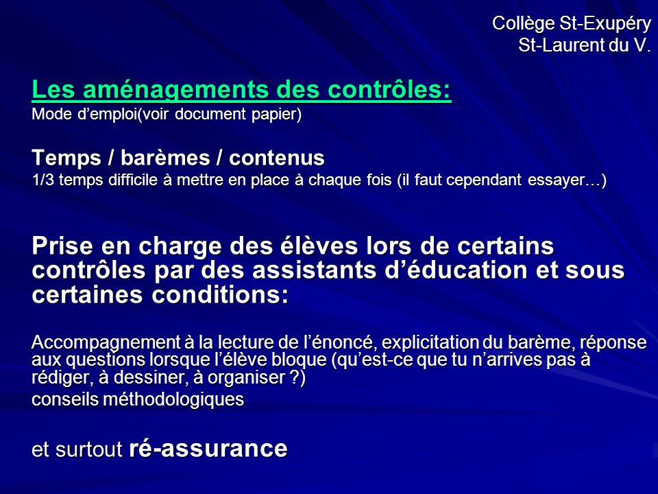 Collège St-Exupéry St-Laurent du V. Les aménagements des contrôles: Mode d'emploi(voir document papier) Temps / barèmes / contenus 1/3 temps difficile