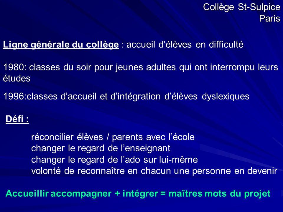 Collège St-Sulpice Paris Ligne générale du collège : accueil d'élèves en difficulté 1980: classes du soir pour jeunes adultes qui ont interrompu leurs