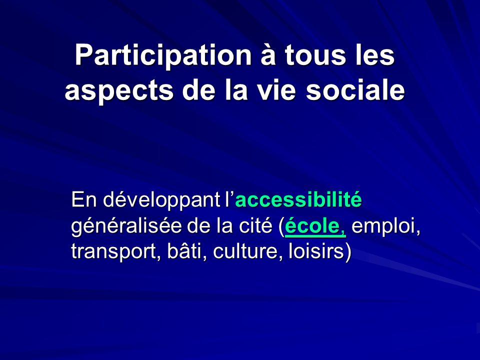 En développant l'accessibilité généralisée de la cité (école, emploi, transport, bâti, culture, loisirs) Participation à tous les aspects de la vie so