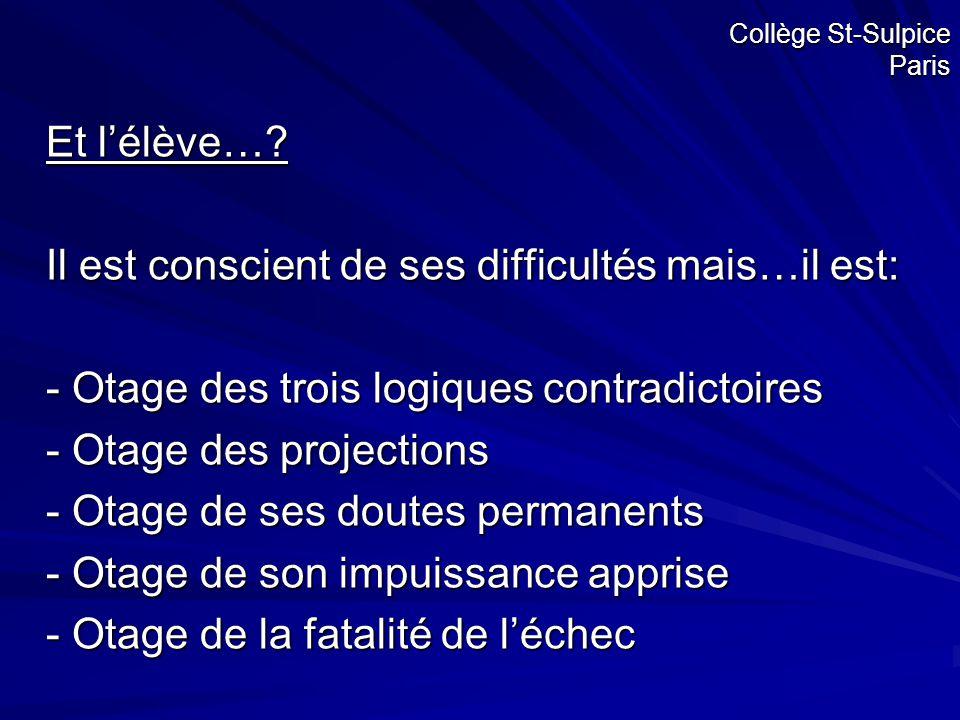 Collège St-Sulpice Paris Et l'élève…? Il est conscient de ses difficultés mais…il est: - Otage des trois logiques contradictoires - Otage des projecti