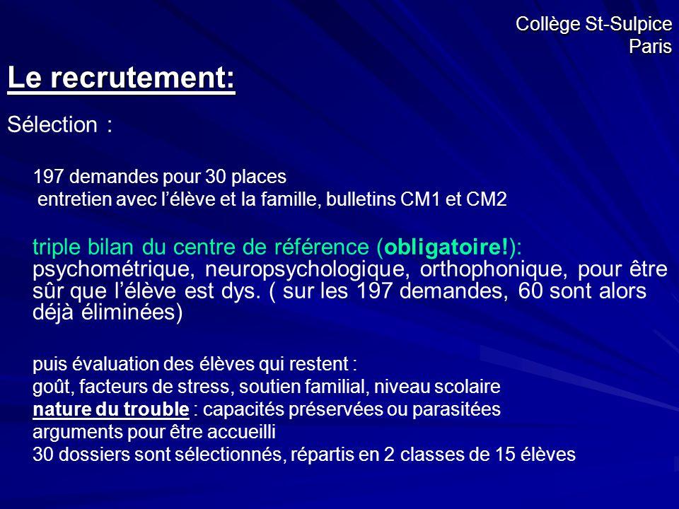 Collège St-Sulpice Paris Le recrutement: Sélection : 197 demandes pour 30 places entretien avec l'élève et la famille, bulletins CM1 et CM2 triple bil