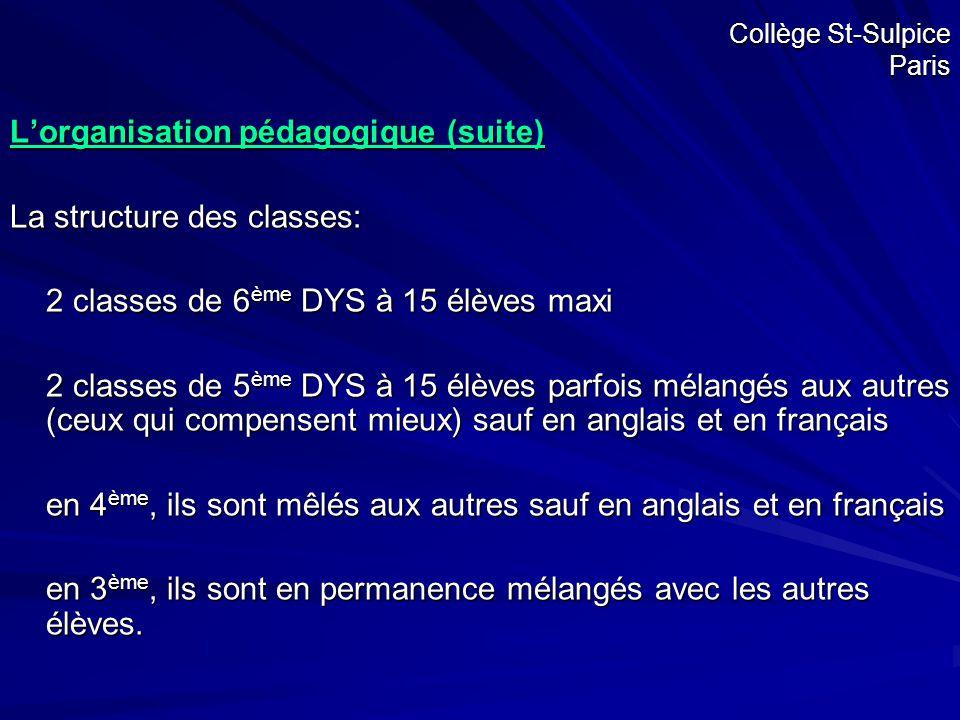 L'organisation pédagogique (suite) La structure des classes: 2 classes de 6 ème DYS à 15 élèves maxi 2 classes de 5 ème DYS à 15 élèves parfois mélang