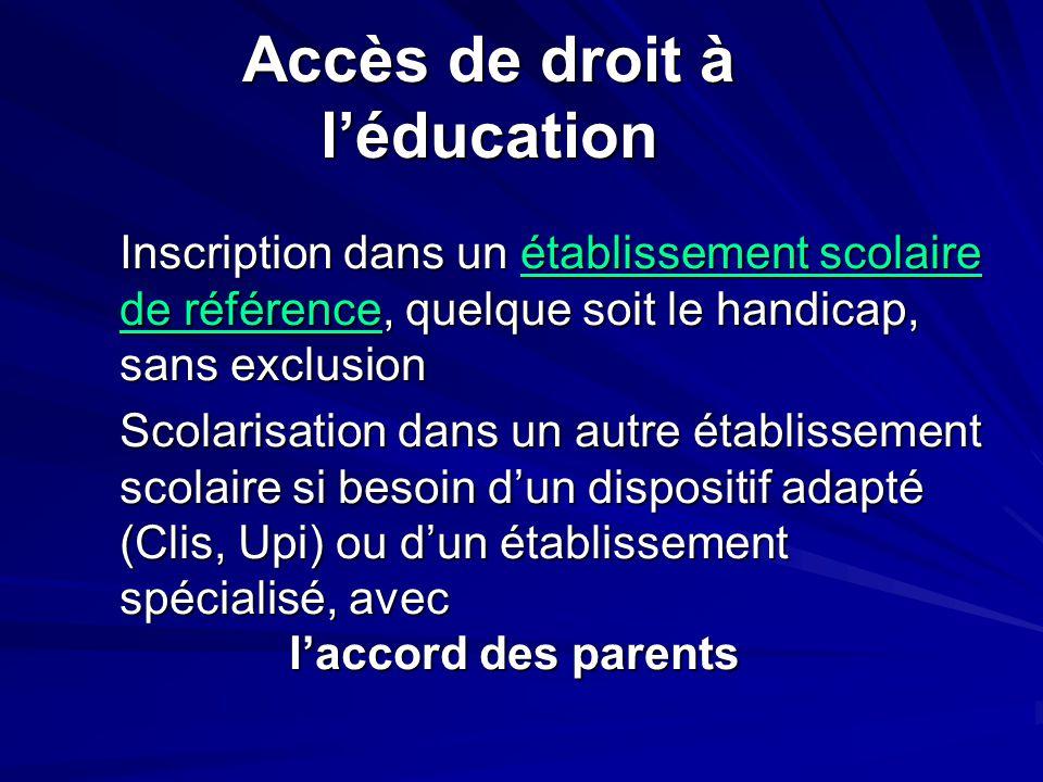 Inscription dans un établissement scolaire de référence, quelque soit le handicap, sans exclusion Scolarisation dans un autre établissement scolaire s