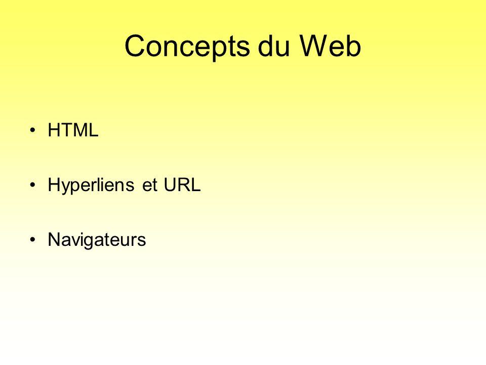 Concepts du Web •HTML •Hyperliens et URL •Navigateurs