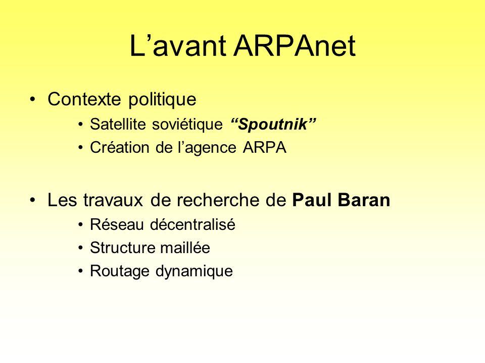 """L'avant ARPAnet •Contexte politique •Satellite soviétique """"Spoutnik"""" •Création de l'agence ARPA •Les travaux de recherche de Paul Baran •Réseau décent"""