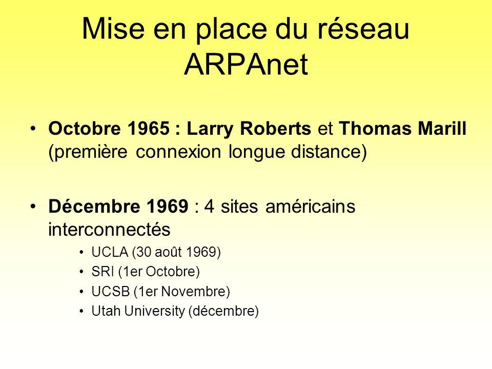Mise en place du réseau ARPAnet •Octobre 1965 : Larry Roberts et Thomas Marill (première connexion longue distance) •Décembre 1969 : 4 sites américain