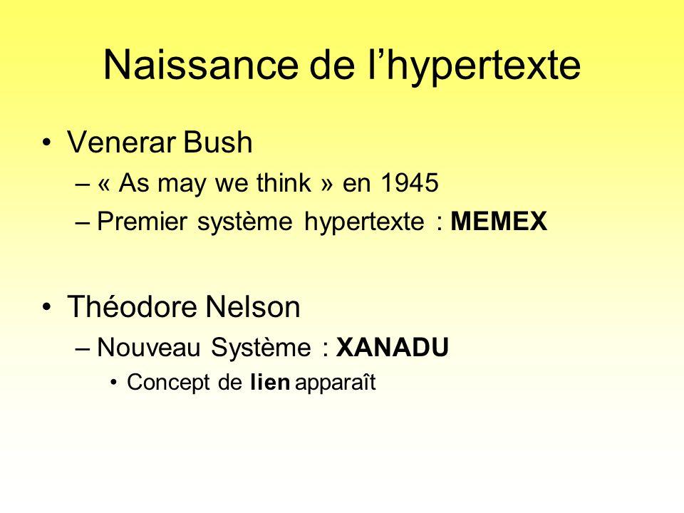 Naissance de l'hypertexte •Venerar Bush –« As may we think » en 1945 –Premier système hypertexte : MEMEX •Théodore Nelson –Nouveau Système : XANADU •C