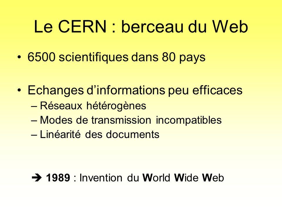 Le CERN : berceau du Web •6500 scientifiques dans 80 pays •Echanges d'informations peu efficaces –Réseaux hétérogènes –Modes de transmission incompati