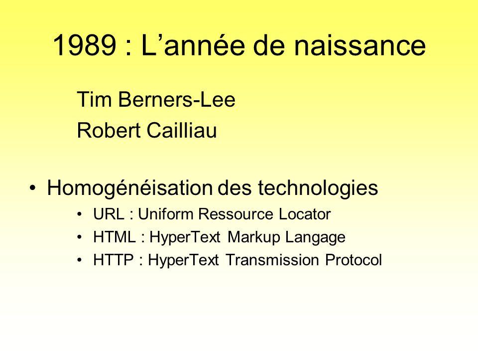 1989 : L'année de naissance Tim Berners-Lee Robert Cailliau •Homogénéisation des technologies • URL : Uniform Ressource Locator • HTML : HyperText Mar
