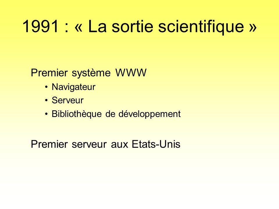 1991 : « La sortie scientifique » Premier système WWW •Navigateur •Serveur •Bibliothèque de développement Premier serveur aux Etats-Unis