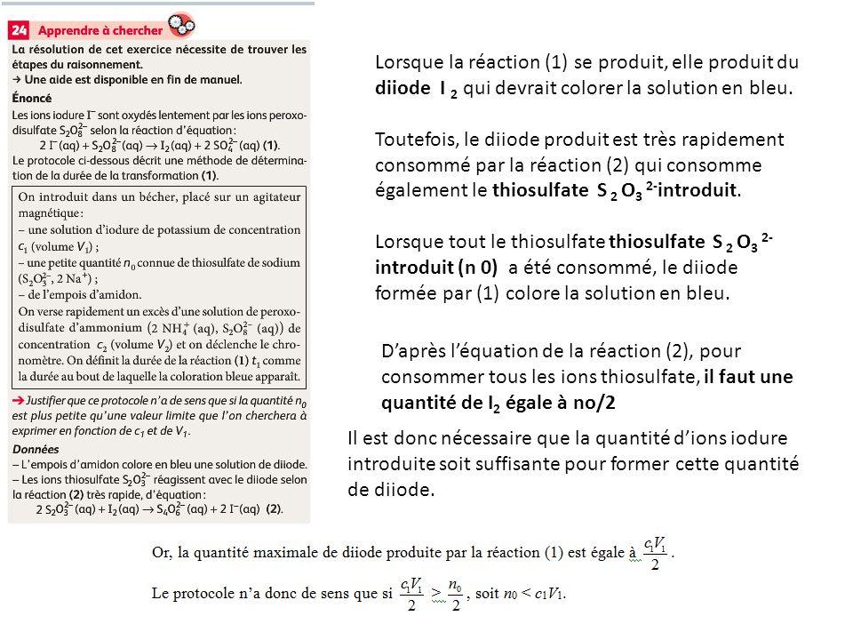 Lorsque la réaction (1) se produit, elle produit du diiode I 2 qui devrait colorer la solution en bleu. Toutefois, le diiode produit est très rapideme