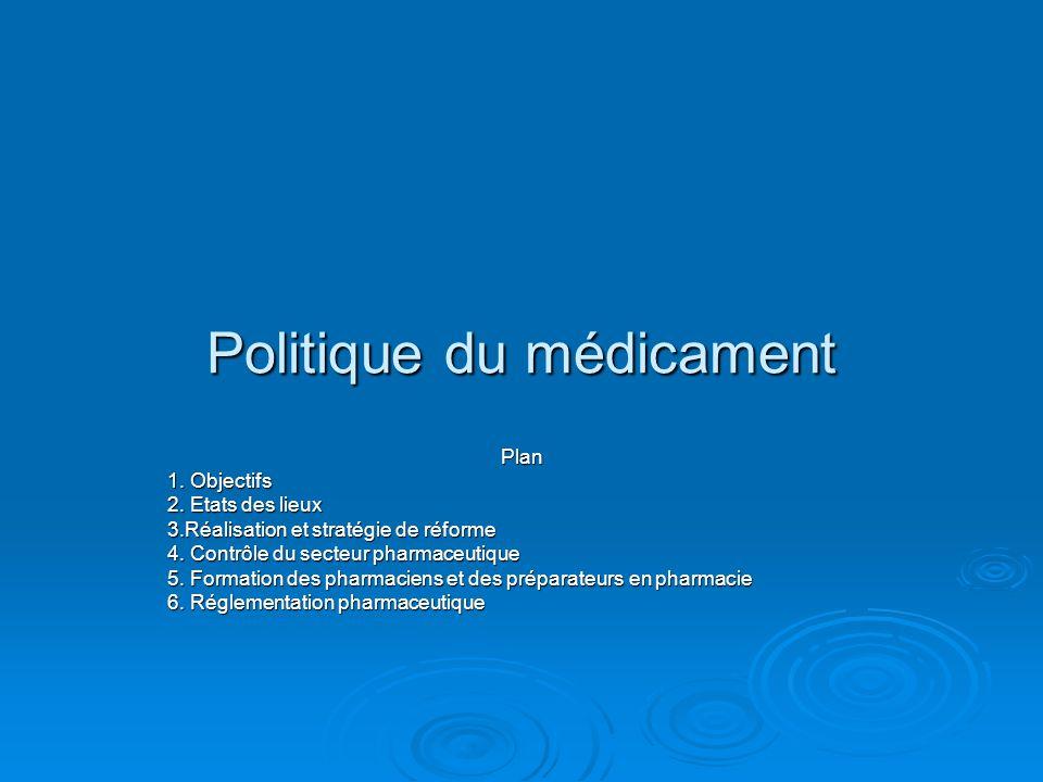 Politique du médicament  Dans ce domaine :  Il faut développer une base de donnée permettant de décrire la répartition des pharmacies par région, province et localité.