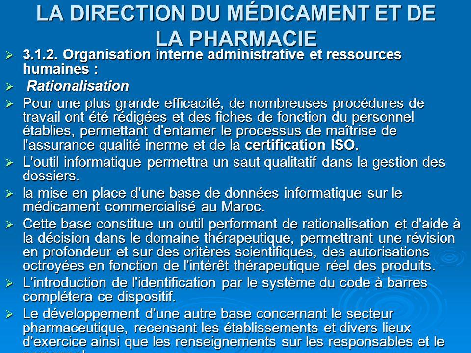 LA DIRECTION DU MÉDICAMENT ET DE LA PHARMACIE  3.1.2. Organisation interne administrative et ressources humaines :  Rationalisation  Rationalisatio