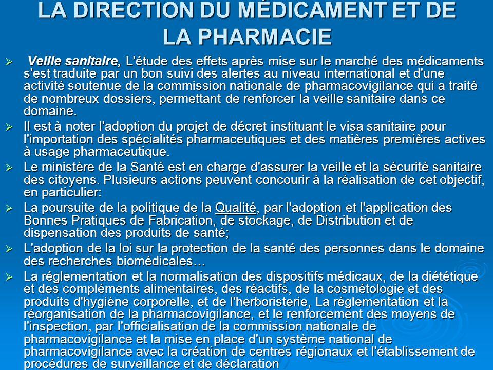LA DIRECTION DU MÉDICAMENT ET DE LA PHARMACIE  Veille sanitaire, L'étude des effets après mise sur le marché des médicaments s'est traduite par un bo