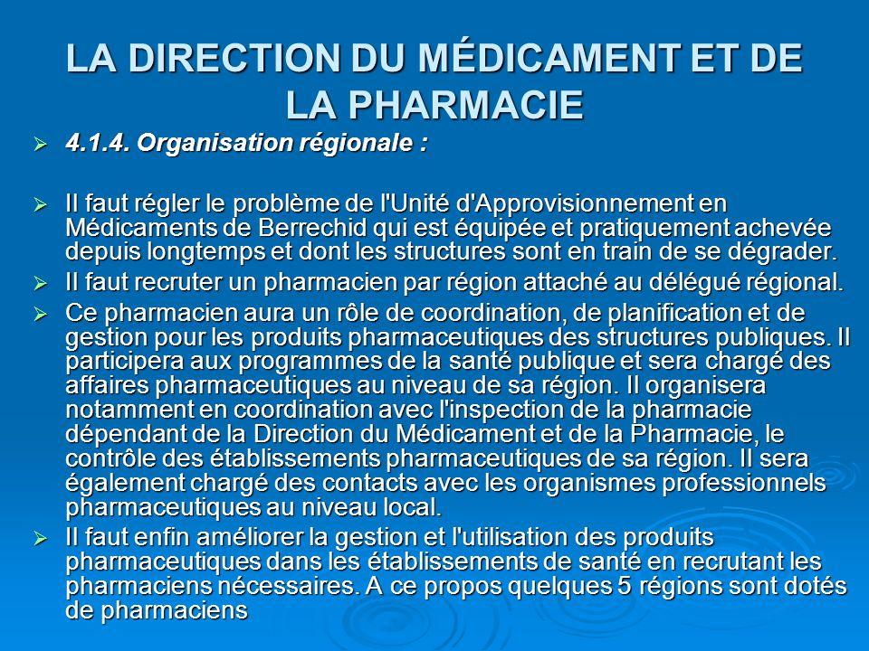 LA DIRECTION DU MÉDICAMENT ET DE LA PHARMACIE  4.1.4. Organisation régionale :  Il faut régler le problème de l'Unité d'Approvisionnement en Médicam