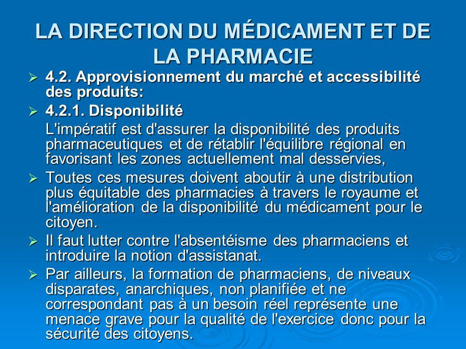 LA DIRECTION DU MÉDICAMENT ET DE LA PHARMACIE  4.2. Approvisionnement du marché et accessibilité des produits:  4.2.1. Disponibilité L'impératif est