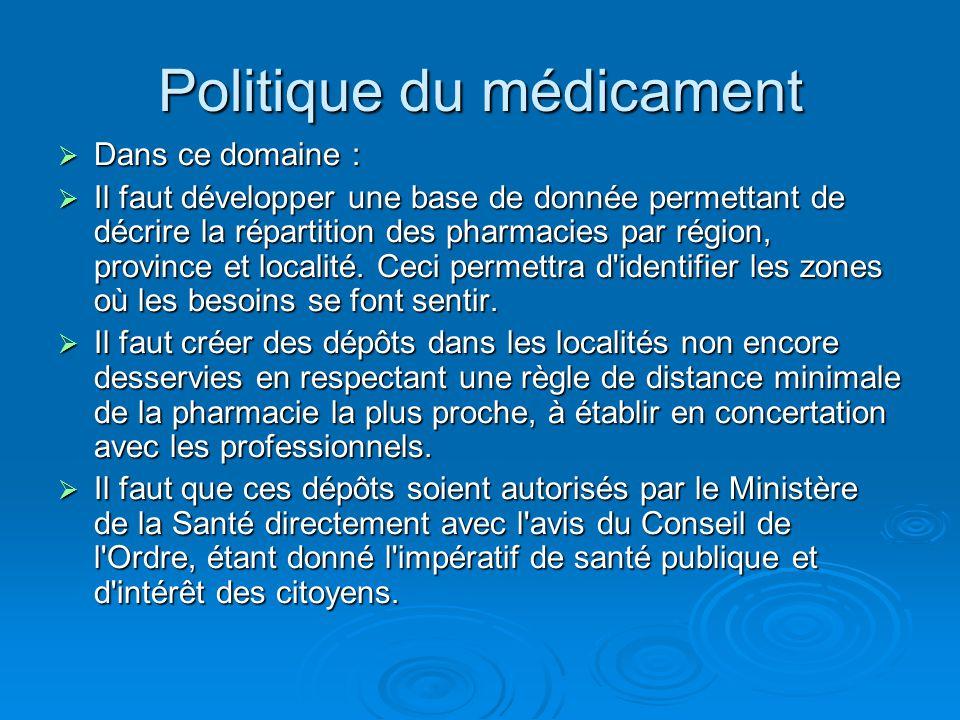 Politique du médicament  Dans ce domaine :  Il faut développer une base de donnée permettant de décrire la répartition des pharmacies par région, pr