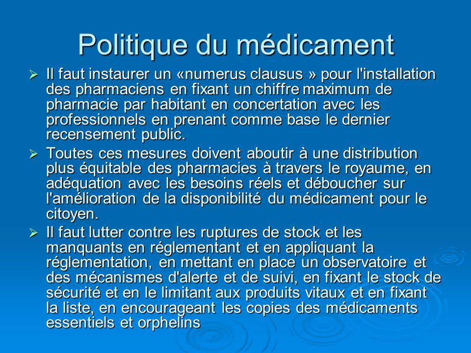 Politique du médicament  Il faut instaurer un «numerus clausus » pour l'installation des pharmaciens en fixant un chiffre maximum de pharmacie par ha