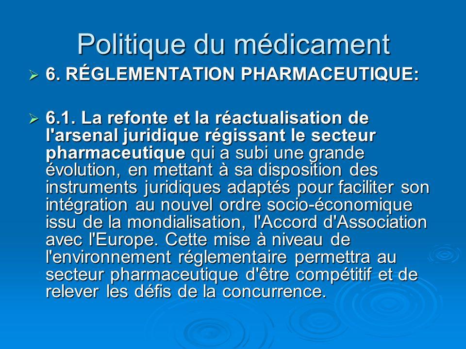 Politique du médicament  6. RÉGLEMENTATION PHARMACEUTIQUE:  6.1. La refonte et la réactualisation de l'arsenal juridique régissant le secteur pharma