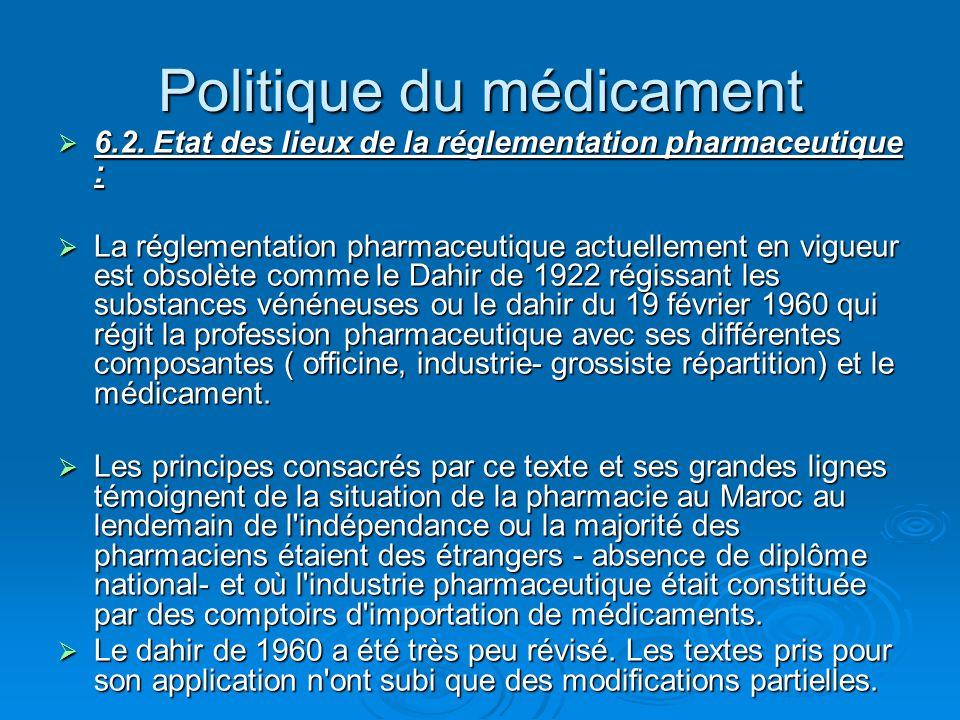 Politique du médicament  6.2. Etat des lieux de la réglementation pharmaceutique :  La réglementation pharmaceutique actuellement en vigueur est obs