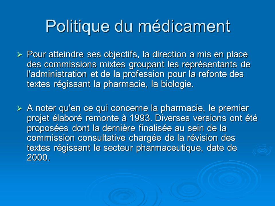 Politique du médicament  Pour atteindre ses objectifs, la direction a mis en place des commissions mixtes groupant les représentants de l'administrat