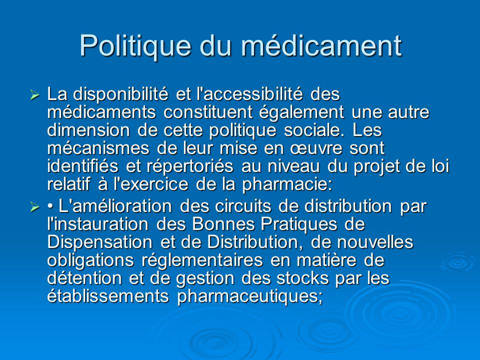 Politique du médicament  La disponibilité et l'accessibilité des médicaments constituent également une autre dimension de cette politique sociale. Le