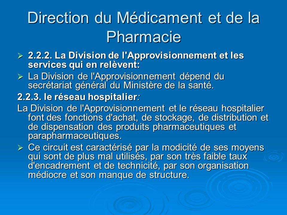 Direction du Médicament et de la Pharmacie  2.2.2. La Division de l'Approvisionnement et les services qui en relèvent:  La Division de l'Approvision
