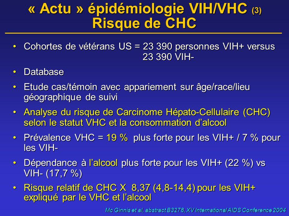 « Actu » épidémiologie VIH/VHC (3) Risque de CHC •Cohortes de vétérans US = 23 390 personnes VIH+ versus 23 390 VIH- •Database •Etude cas/témoin avec appariement sur âge/race/lieu géographique de suivi •Analyse du risque de Carcinome Hépato-Cellulaire (CHC) selon le statut VHC et la consommation d'alcool •Prévalence VHC = 19 % plus forte pour les VIH+ / 7 % pour les VIH- •Dépendance à l'alcool plus forte pour les VIH+ (22 %) vs VIH- (17,7 %) •Risque relatif de CHC X 8,37 (4,8-14,4) pour les VIH+ expliqué par le VHC et l'alcool Mc Ginnis et al, abstract B3278, XV International AIDS Conference 2004