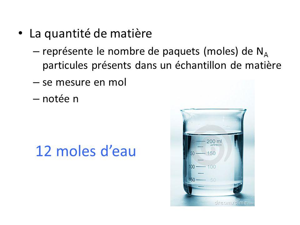 • La quantité de matière – représente le nombre de paquets (moles) de N A particules présents dans un échantillon de matière – se mesure en mol – noté