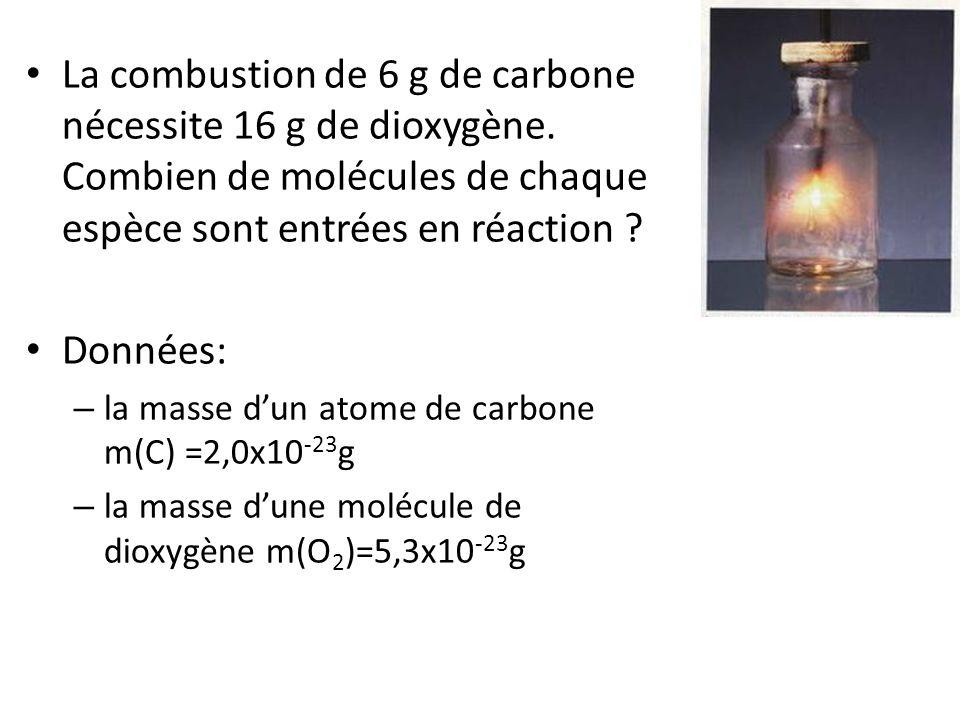 • La combustion de 6 g de carbone nécessite 16 g de dioxygène. Combien de molécules de chaque espèce sont entrées en réaction ? • Données: – la masse