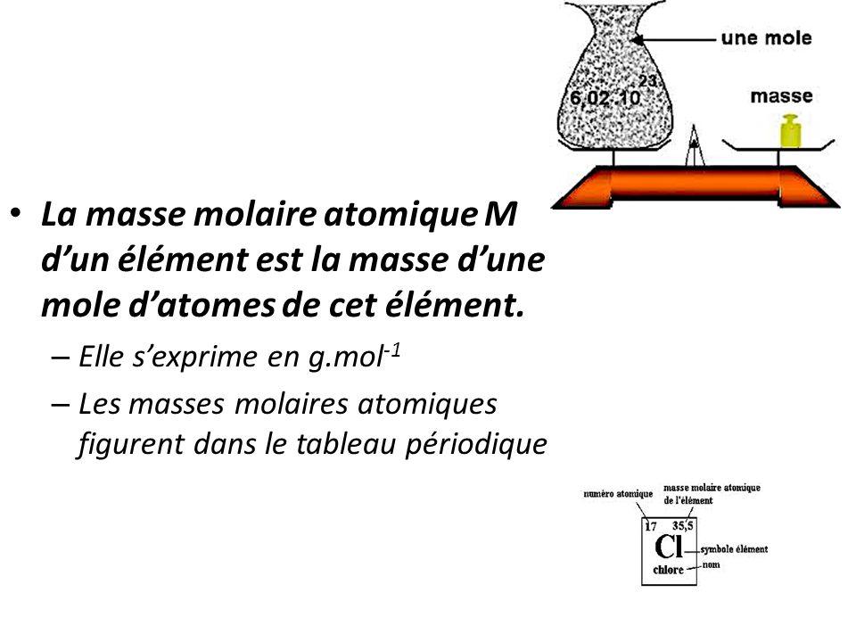 • La masse molaire atomique M d'un élément est la masse d'une mole d'atomes de cet élément. – Elle s'exprime en g.mol -1 – Les masses molaires atomiqu