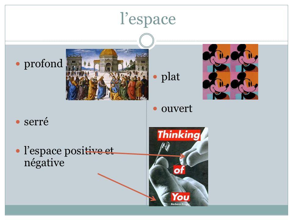 l'espace  profond  serré  l'espace positive et négative  plat  ouvert