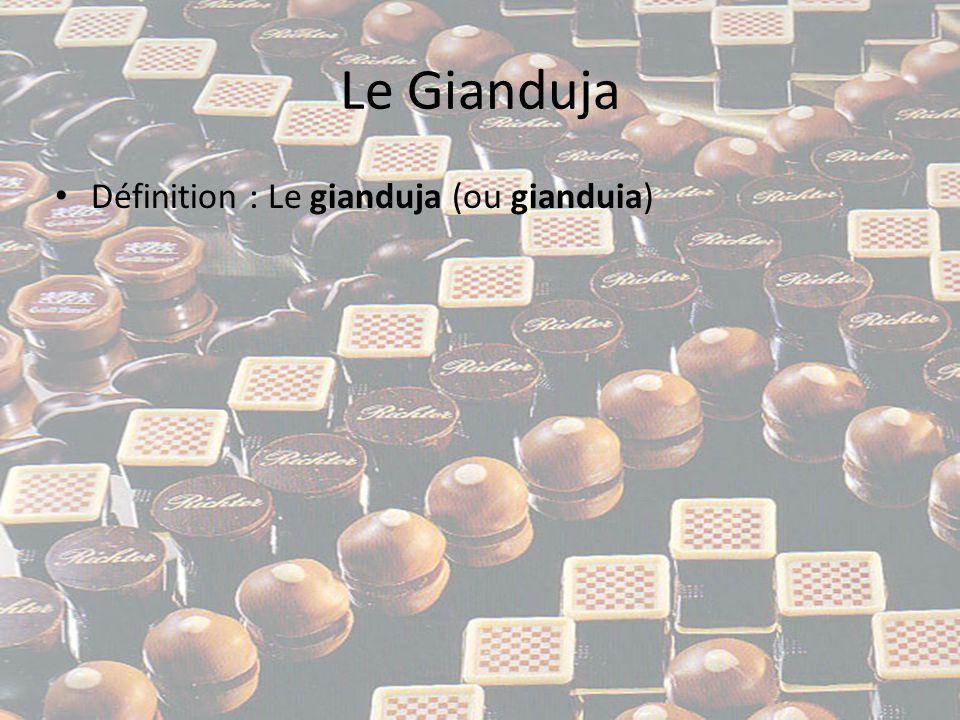 Le Gianduja • Définition : Le gianduja (ou gianduia) est une pâte de chocolat et de noisettes finement broyées à laquelle peuvent être ajoutés d autres fruits à coques (Amandes ou plus rarement des noix) également broyés, ainsi que du sucre glace et de la matière grasse (beurre pâtissier ou crème fraiche).
