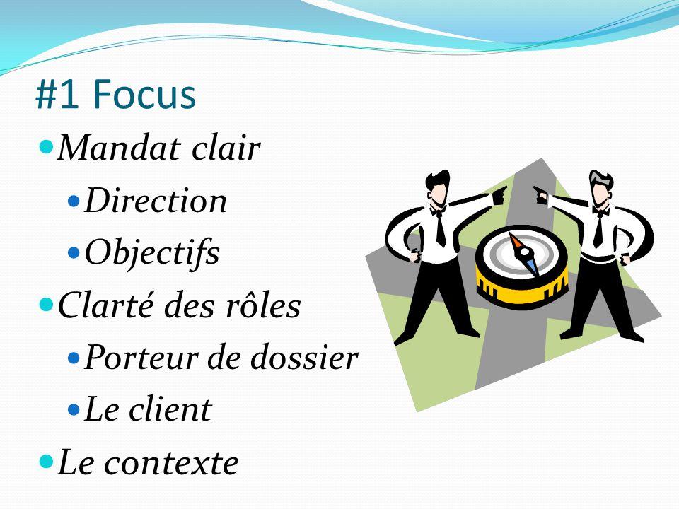 #1 Focus  Mandat clair  Direction  Objectifs  Clarté des rôles  Porteur de dossier  Le client  Le contexte
