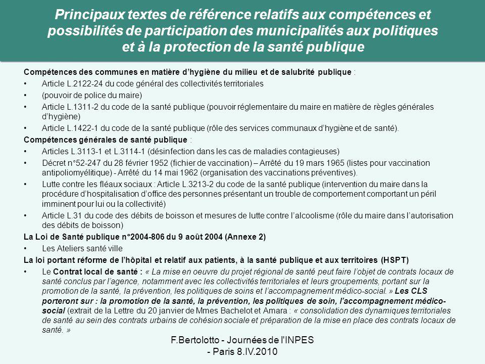 Compétences des communes en matière d'hygiène du milieu et de salubrité publique : •Article L.2122-24 du code général des collectivités territoriales