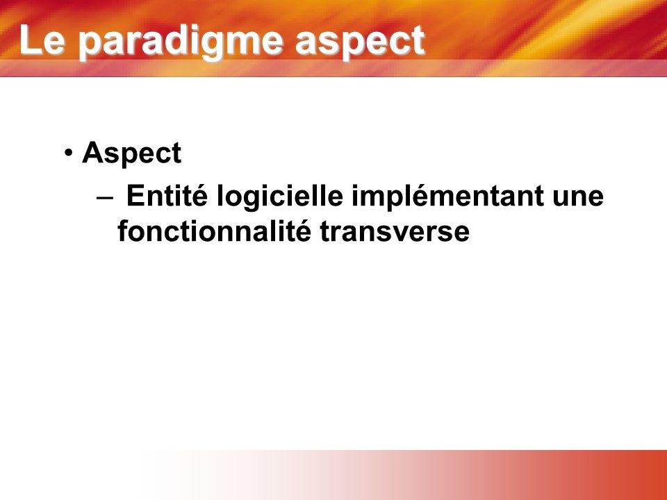 Le paradigme aspect • Aspect – Entité logicielle implémentant une fonctionnalité transverse