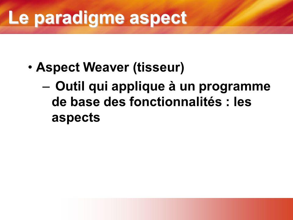 Le paradigme aspect • Aspect Weaver (tisseur) – Outil qui applique à un programme de base des fonctionnalités : les aspects