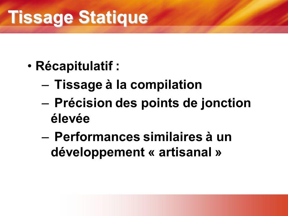 Tissage Statique • Récapitulatif : – Tissage à la compilation – Précision des points de jonction élevée – Performances similaires à un développement « artisanal »