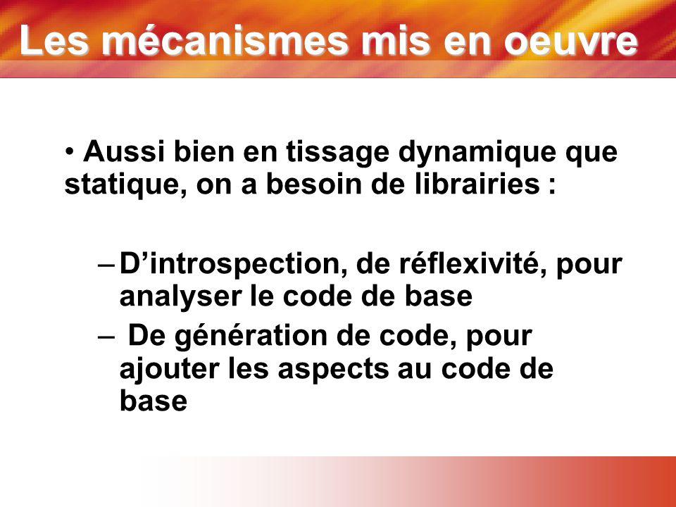 Les mécanismes mis en oeuvre • Aussi bien en tissage dynamique que statique, on a besoin de librairies : –D'introspection, de réflexivité, pour analyser le code de base – De génération de code, pour ajouter les aspects au code de base