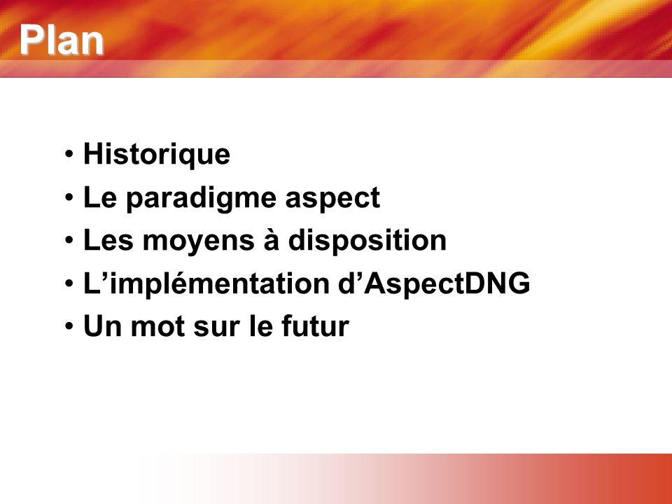 Plan • Historique • Le paradigme aspect • Les moyens à disposition • L'implémentation d'AspectDNG • Un mot sur le futur