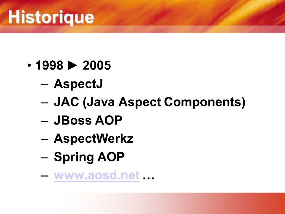 Historique • 1998 ► 2005 – AspectJ – JAC (Java Aspect Components) – JBoss AOP – AspectWerkz – Spring AOP – www.aosd.net …www.aosd.net